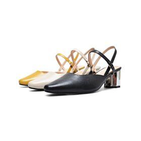 Neri Tacco Medio 6 cm Pelle Sandali Cinturino Alla Caviglia Tacco Largo