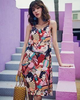 ミディ スパゲッティ ストレート コットン スリップ バックレス サン ドレス 可愛い ワンピース 87220180514