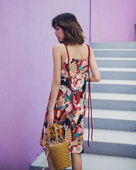 Slip Dress Open Back Casual Dress Straight Spaghetti Strap Dress Cute Summer Sundress Juniors Colorful