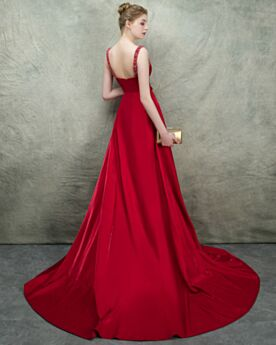 Backless Princess Long Formal Evening Dress Beaded Plunge Red Carpet Dresses Prom Dress Red Sexy Spring 2018 Vintage