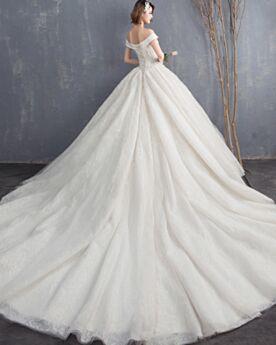 Applikationen Vintage Brautkleid Maxi Rückenausschnitt Tüll Fit N Flare Herrlich Petticoatkleid Spitzen Schulterfreies Kurzarm