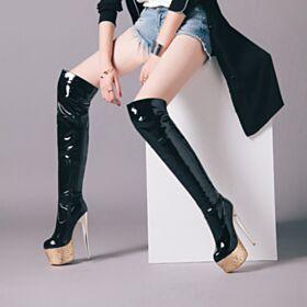 Overknee Runde Zeh Schwarz Gefütterte Mit Absatz Plateau Glitzer Stiefel Damen Stilettos High Heel Über 13 cm