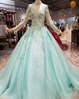 Largos De Encaje Manga Larga Escotados Quinceañera Vestidos De 15 Años Brillantes Princesa De Tul Azul Claro Cuello Alto Lujo Transparente