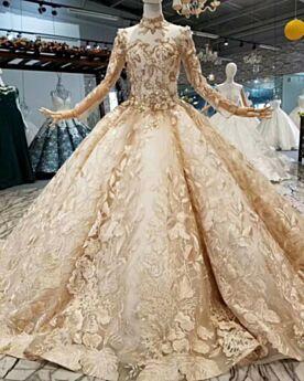 Oro Spring Pizzo Trasparente Collo Alto Ricamato Eleganti Manica Lunga Luccicante Vestiti Da Sposa