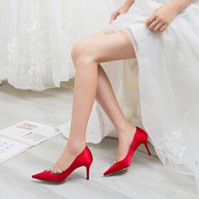 Spitz Zeh Abendschuhe Brautjungfer Schuhe Satin Stöckelschuhe Rot 7 cm Mittel Heels