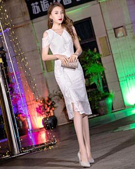 Knee Length Graduation Dress Ruffle Sheath Lace Simple