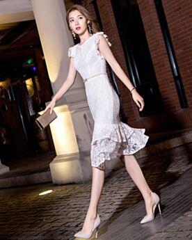 Simple Sheath Lace White Graduation Dresses
