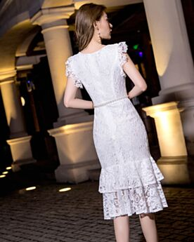 Simple Sheath Lace White Graduation Dresses