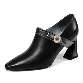 En Punta Fina Tacon Ancho Trabajo Tacon Medio De Piel Clasico Zapatos Oxford Negro