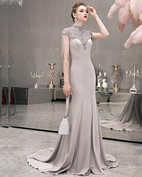 Abendkleid Brautmutterkleid Perlen Partykleider Ärmellos Elegante Meerjungfrau Hellgrau