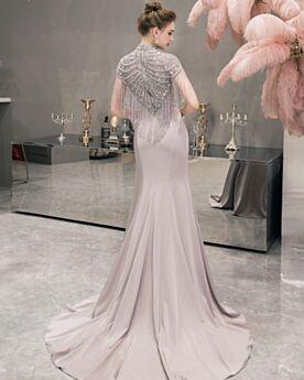 Vestiti Da Sera Vestiti Da Cerimonia Con Perline Collo Alto Sirena Lungo Gioiello Grigio Perla Eleganti