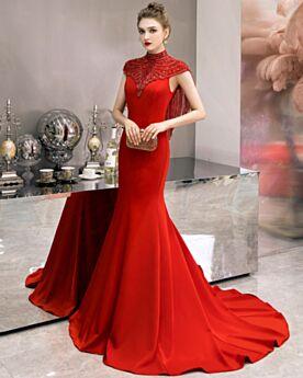 Ärmellos Kleider Für Festliche Lange Rot Abendkleider Elegante Brautmutterkleid Meerjungfrau Hochgeschlossene