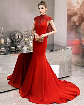 Sans Manches Robes De Soirée Rouge Strass Robe Mère De Mariée Col Haut Longue