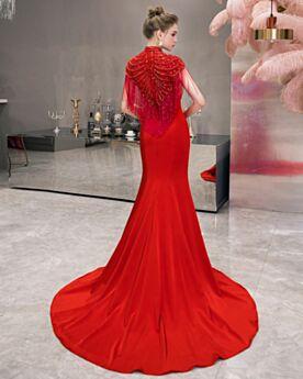 Elegante Mouwloze Avondjurken Bruidsmoederjurken Charmeuse Lange Rode Kralen