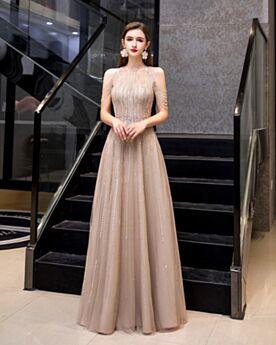 Vestidos De Noche De Tul Cristal Hombros Al Aire Cuello Alto Brillantes Color Champagne Lentejuelas Largos