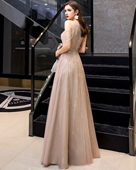 Long With Rhinestones Christmas Dresses A Line Sparkly High Neck Formal Evening Dresses Luxury Sequin