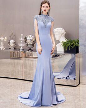 Meerjungfrau Blaues Kleider Für Festliche Brautmutterkleider Hochgeschlossene Elegante Abendkleid Perlen