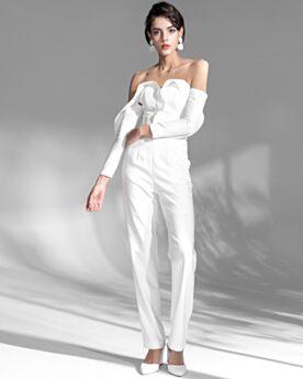 Mooie Open Rug Jumpsuits Witte Avondjurken Met Volant Lange Mouwen Lange