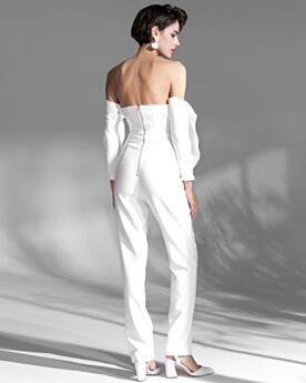 Jumpsuit Abendkleid Off Shoulder Kleider Für Festliche Weiss Schulterfreies Elegante Chiffon Lange Ärmel