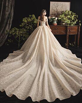 Rückenausschnitt Tüll Schönes Perlen Glitzernden Spitzen Applikationen Pailletten Off Shoulder Brautkleider