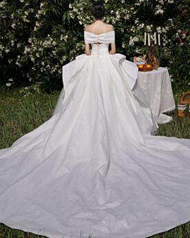 Elegante Rückenausschnitt Tragerloses Glitzer Prinzessin Glitzernden Weiß Vintage Brautkleid