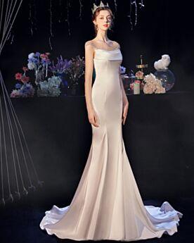 Standesamt Schlichte Meerjungfrau Weiß Rückenfreies Lange Hochzeitskleider Satin Perlen Elegante
