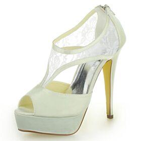 Platform Eleganti Scarpe Sposa Pizzo Raso Sandali Donna Tacco Alto Tacco A Spillo Avorio
