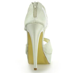 Elegantes Tacones Altos 13 cm De Encaje De Satin De Plataforma Zapatos De Novia Peep Toe Crema Stilettos Sandalias