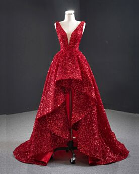 Asymmetrical Sparkly Prom Dress Plunge Cocktail Dresses Short Sequin Backless Red Carpet Dresses Sleeveless Gorgeous Red