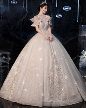 Lace Open Back Off The Shoulder Ruffle Wedding Dress Ball Gown Sparkly Glitter