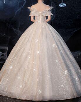 Spitzen Rückenausschnitt Off Shoulder Rüschen Brautkleider Prinzessin Glitzernden Glitzer