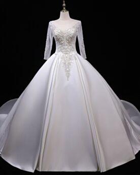 Rückenfreies Weiß Brautkleider Schönes Schlichte