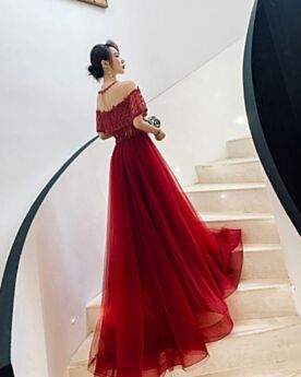 Maniche Corte Lunghi Trasparente Bordeaux Abiti Cerimonia Schiena Scoperta Eleganti