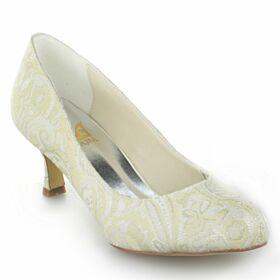 Escarpins Printemps Dentelle Chaussure Mariée Blanche Talon Aiguille Chaussure Demoiselle D honneur Brodé