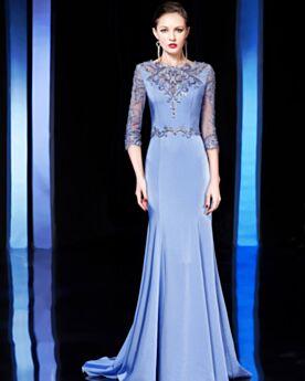 Mermaid Prom Dress Blue Formal Evening Dress 2019 Beading Mother Of Bridal Dresses Long Appliques Lace Elegant