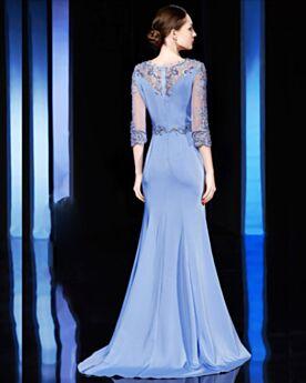 Elegante Blaues Perlen Applikationen Abendkleider Meerjungfrau Brautmutterkleider Spitzen Lange Satin Halbe Ärmel Ballkleider