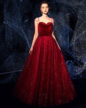 Sparkly Princess Glitter Prom Dress Velvet Open Back 2019 Formal Evening Dress Burgundy