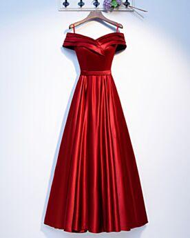 Spaghettiträger Off Shoulder Empire Schlichte Abendkleid Plissee Trauzeugin Kleid Hochzeitsgäste Kleider Rot