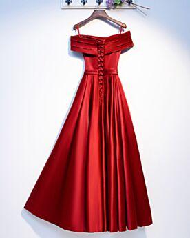 Simpele Vintage Lange Avondjurken Empire Off Shoulder Plooi Bruidsmeisjes Jurk Bruiloft Rode A Lijn Open Rug