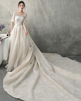 Lungo Schiena Scoperta Con Perline Vestiti Da Sposa Tulle Linue A Avorio Paillettes Luccicante Scollo Quadrato