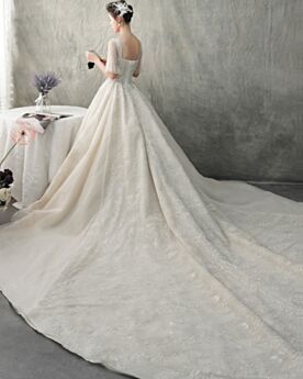 Open Back Beading Princess Luxury Bridal Gowns Sequin Sparkly