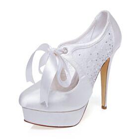 ホワイト 厚底 ピンヒール ヒール パンプス シューズ ハイヒール サテン エレガント ハイヒール レース 結婚式 靴 8820310731
