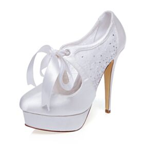 Bowknot Wedding Shoes Rhinestones White Stilettos 13 cm High Heel Platform Lace Pumps Dress Shoes Beautiful
