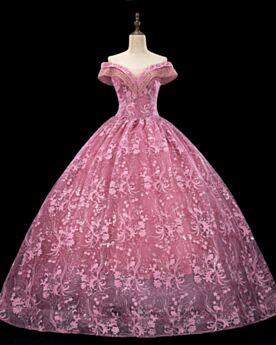Ballkleider Spitzen Perlen Rückenausschnitt Prinzessin Quinceanera Kleider Pink Elegante