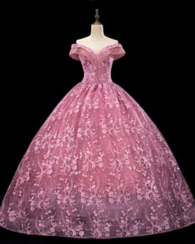 Open Back Ball Gowns Lace Cute Elegant Prom Dresses Pink Long Quinceanera Dress