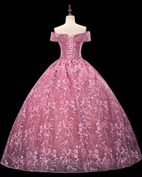 Estilo Princesa Largos Vestidos De Fiesta Espalda Descubierta Quinceañera Vestidos De 15 Años Bonitos Escote V Rosa Elegantes Vestidos Prom