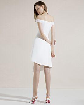 Schulterfreies Cocktailkleider Mit Schlitz Mini Weiß Schlichte Festliche Kleider Asymmetrisches Satin