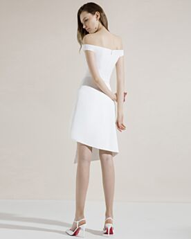 Short Cocktail Dress Summer Simple White Semi Formal Dress Slit Graduation Dresses Sleeveless Asymmetrical