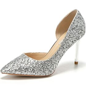 Prom Shoes Silver High Heel Pumps Shoes Pointed Toe Wedding Shoes Stiletto Heels Glitter