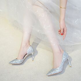 Scarpe Cerimonia Glitter A Punta Scarpe Sposa Tacco Alto Decollete Argento Luccicante
